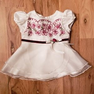 George Embroidered Satin Baby Dress